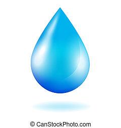 blå, skinnende, nedgang, vand