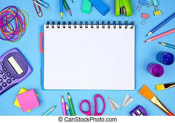 blå, skola, school., ram, baksida, mot, bakgrund., anteckningsbok, space., tom, skaffar, avskrift