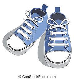 blå, skor
