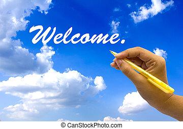 blå, skrift, velkommen, hånd, sky.