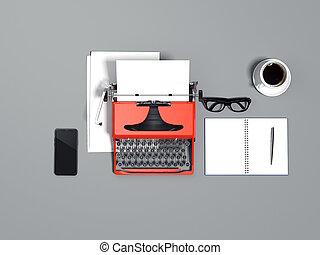 blå, skrivmaskin, uttryckslösa blad, galsses, och, smartphone., 3, framförande