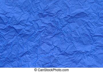 blå, skrynkligt, paper.