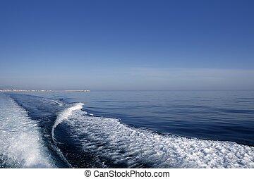 blå, skum, ocean, tvätta, hav, vakna, stötta, båt