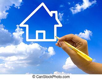 blå, sky., hus, hånd, affattelseen, ikon