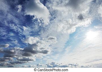blå, skyer, hen, himmel