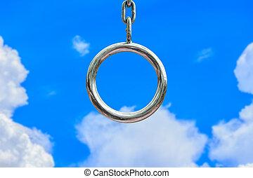 blå, skyer, kæde, himmel, cirkel, hvid