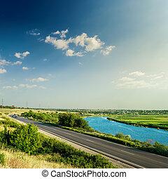 blå, skyn, asfalt,  sky, solnedgång,  under, flod, väg
