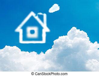 blå, skyn, hus, sky, gradient-white, bakgrund