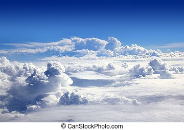 blå, skyn, sky, hög, airplane, synhåll