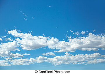blå, skyn, vita himmel