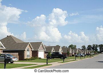 blå, skys, grannskap