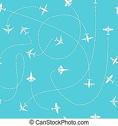 blå, släng, resa, pattern., seamless, plan, vektor, bakgrund, värld, bana, resor, fodrar, ändlös