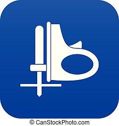 blå, sladdlös, digital, gengäldande såg, ikon