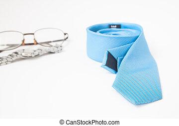 blå, slips, färg, ur, tillbehör, eyewear, bakgrund, vit, man