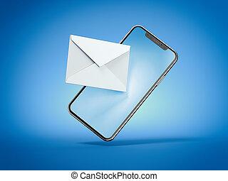 blå, smartphone, bakgrund., kuvert, isolerat, framförande, vit, 3