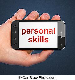 blå, smartphone, ord, räcka telefonera, display., hand, mörk, personlig, bakgrund., mobil, expertis, smart, generisk