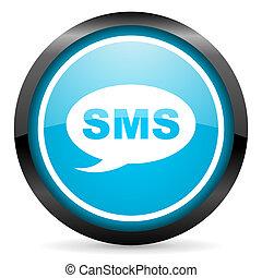 blå, sms, glatt, bakgrund, cirkel, vit, ikon