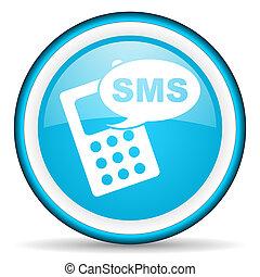 blå, sms, glatt, bakgrund, vit, ikon