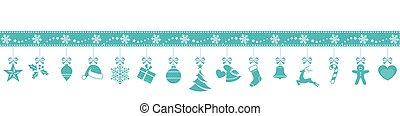 blå, snöflinga, gräns, med, hängande, jul ornamenter