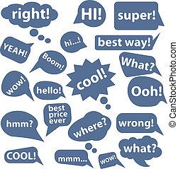 blå, snakke, tegn