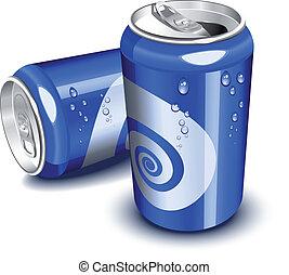 blå, soda, burkar