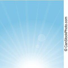 blå, sol, abstrakt, bakgrund