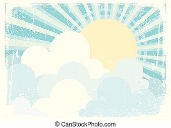 blå, sol, avbild, sky, clouds., vektor, årgång, beautifull
