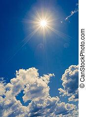 blå, sol, lysande, skyn, sky