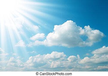 blå, sol, sky