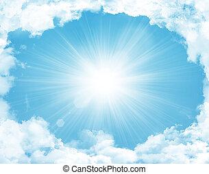 blå, sol, skyer, himmel