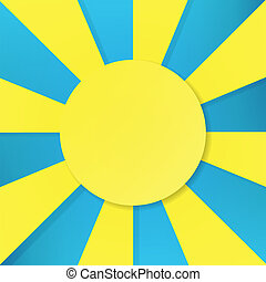 blå, sol, symbol, vektor, bakgrund