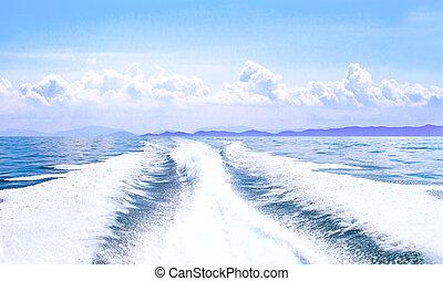 blå, solig, stötta, tvätta, vakna, hav, ocean, dag, båt