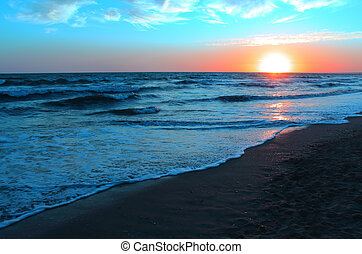 blå, solnedgång