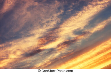 blå, solnedgång,  sky, mjuk, moln
