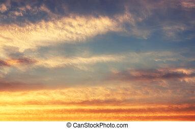blå, solnedgångsky, mjuk, moln