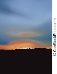 blå, solnedgang