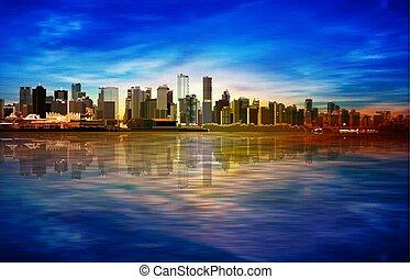 blå, solopgang, vancouver, forår, abstrakt, baggrund, panorama, himmel