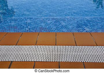 blå, sommar, golvmaterial, stripes, semester, teak, ved, slå samman, simning