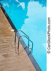 blå, sommar, golvmaterial, stripes, teak, ved, vacati, slå samman, simning
