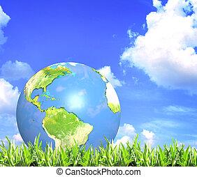 blå, sommer, skyer, himmel, græs, grøn jord