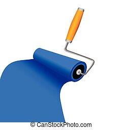 blå, spåra, illustration, måla, vektor, roller
