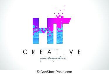 blå, splittraas, brev h, ht, bruten, rosa, design, struktur...