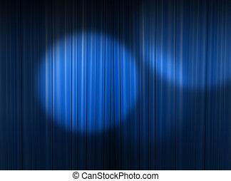 blå, spotlight, in, den, teater