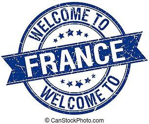 blå, stämpel, välkommen, frankrike, runda, band