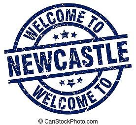 blå, stämpel, välkommen, newcastle