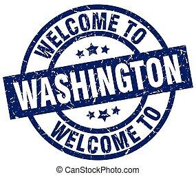 blå, stämpel, välkommen, washington