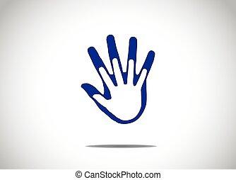 blå, stödjande, begrepp, kamratskap, familj, abstrakt, varandra, äktenskap, människa lämnar, beskyddande