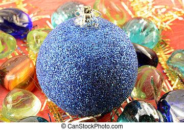blå, stenar, klumpa ihop sig, sätta, år, (christmas), inbjudan, färsk, helgdag, kort