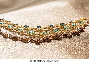 blå, stenar, vit, armband, guld