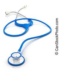 blå, stetoskop, -, isoleret
